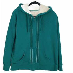 Natural Reflections Rich Teal/Green Sherpa Hoodie
